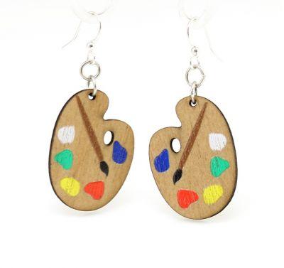 painter palette wood earrings