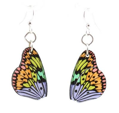 brilliant butterfly wing blossom wood earrings