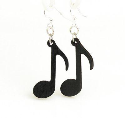 black music note wood earrings