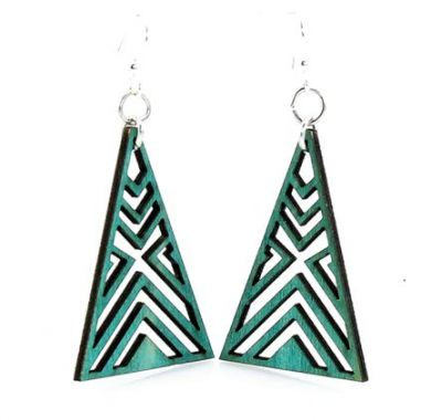 Teal Interlocked Triangle Wood Earrings