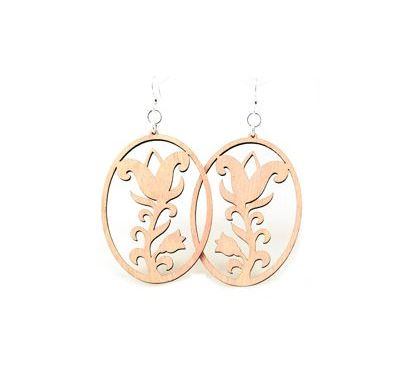 Pink flower oval wood earrings