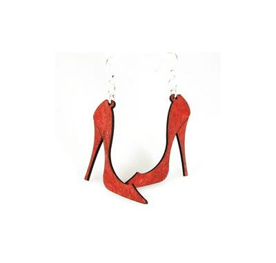 cherry red high heel earrings