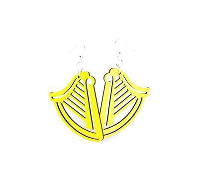 yellow harp wood earrings
