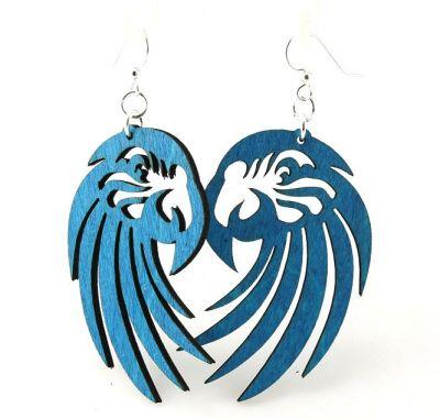 Aqua Marine Macaw Wood Earrings