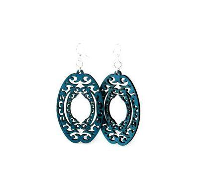 decorative oval wood earrings