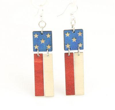 american flag wood earrings