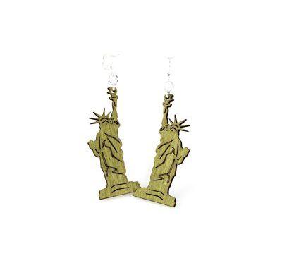 green statue of liberty wood earrings