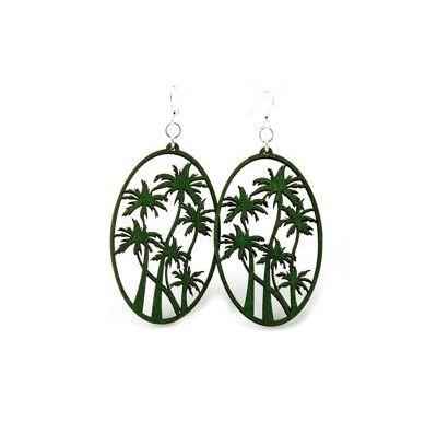 kelly green palm tree wood earrings