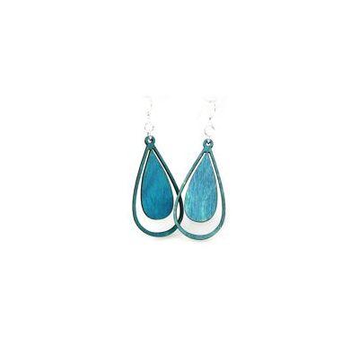 aqua marine water droplet wood earrings