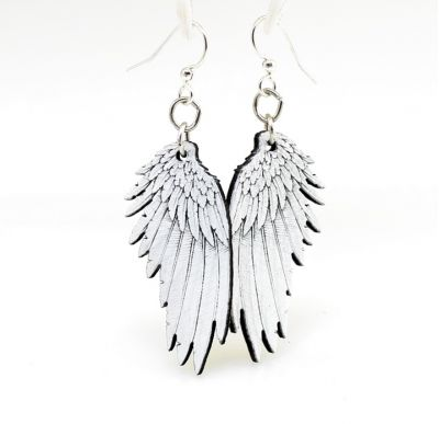 angel wing wood earrings