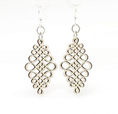 gray calligraphy dangle wood earrings