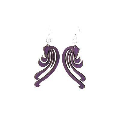 Purple blowing wind earrings