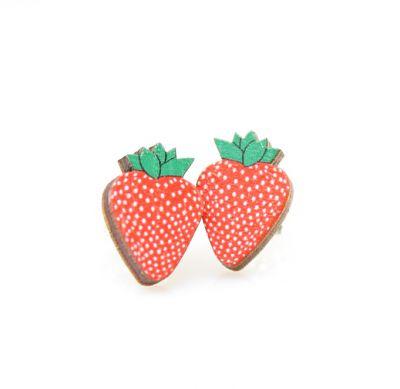 strawberry stud wood earrings