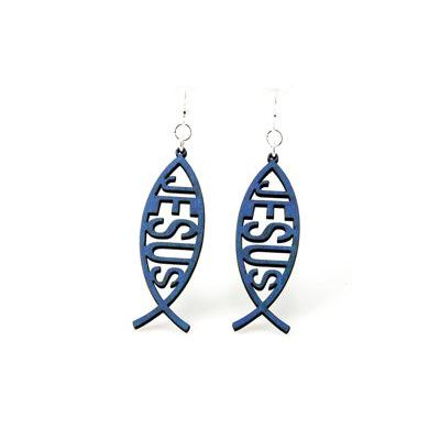 Blue fish jesus wood earrings