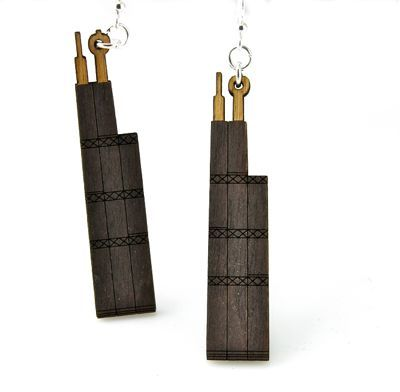 sear tower wood earrings