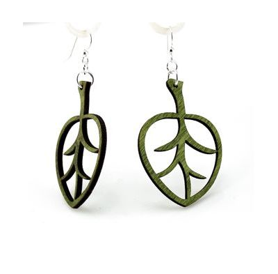 green aspen leaf wood earrings