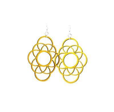 yellow long circle oblong wood earrings