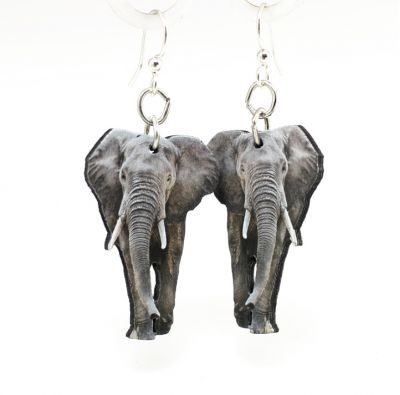 African elephant wood earrings