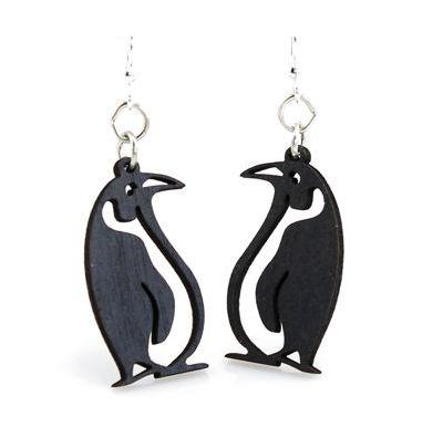 Black Satin wood penguin earrings