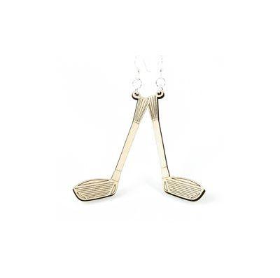 natural wood driver golf club wood earring