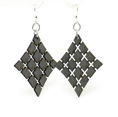 Black floating diamond wood earrings