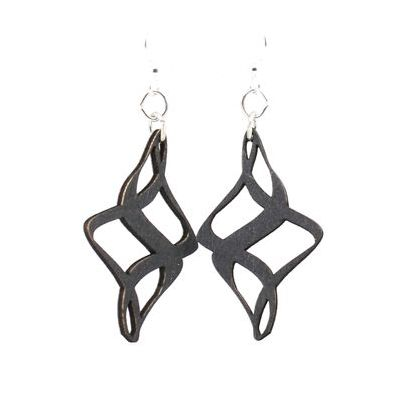 black ribbon twirl wood earrings