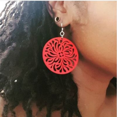 Earrings shown in color Cherry Red