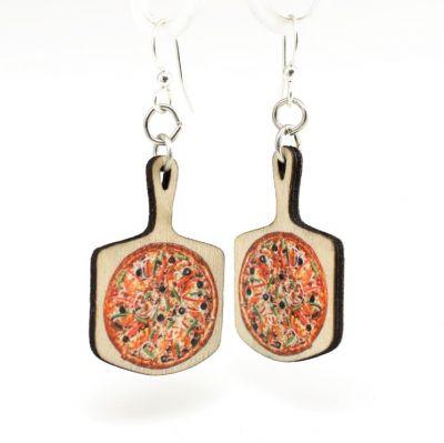 pizza wood earrings