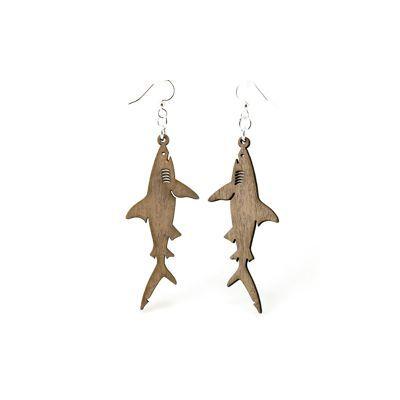 Gray shark wood earrings
