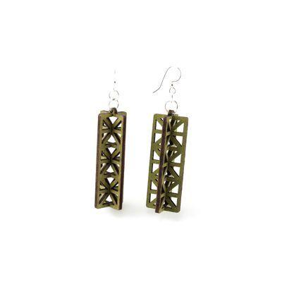 apple green 3d structure wood earrings