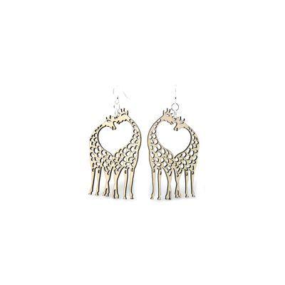 Natural wood giraffe heart wood earrings