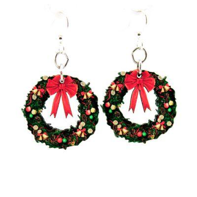 small christmas wreath wood earrings