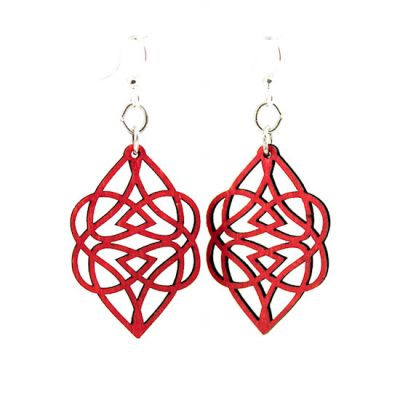 cherry red celtic heart wood earrings