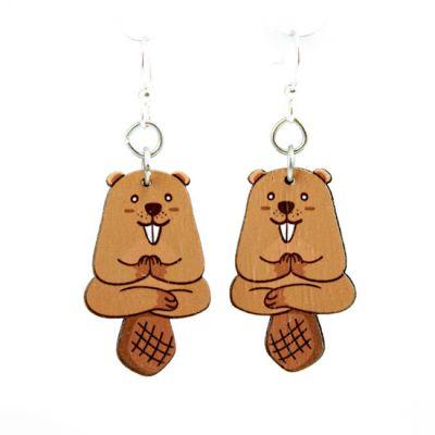 red panda wood earrings