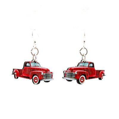 classic truck wood earrings
