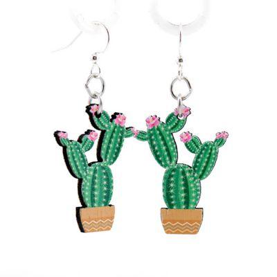 flowering cactus wood earrings
