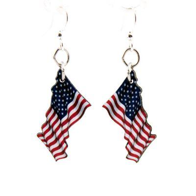 waving american flag wood earrings