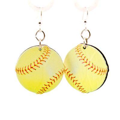 Softball wood earrings