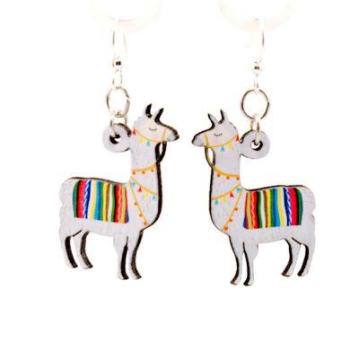 llama wood earrings