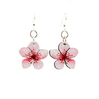 cherry blossom wood earrings
