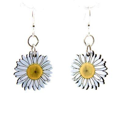 daisy blossom wood earrings