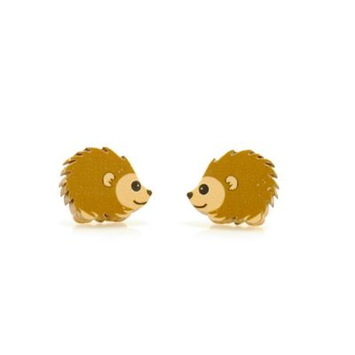 Hedgehog stud wood earrings