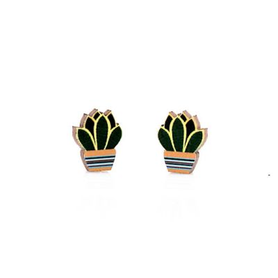 succulent stud wood earrings