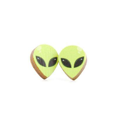 Alien stud wood earrings