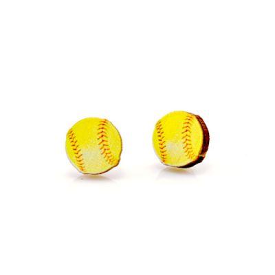 Softball stud wood earrings