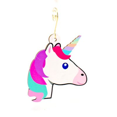 unicorn wood ornament