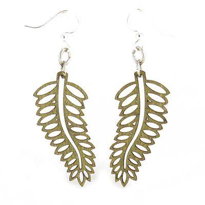 apple green open fern wood earrings