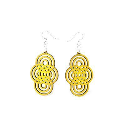 Yellow overlapping circle wood earrings
