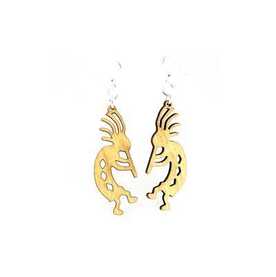 Tan kokopelli wood earrings