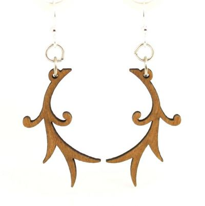Fresh wood branch wood blossom earrings